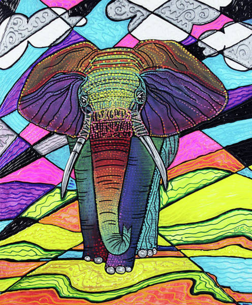 Wall Art - Painting - The Mighty Elephant by Laura Barbosa