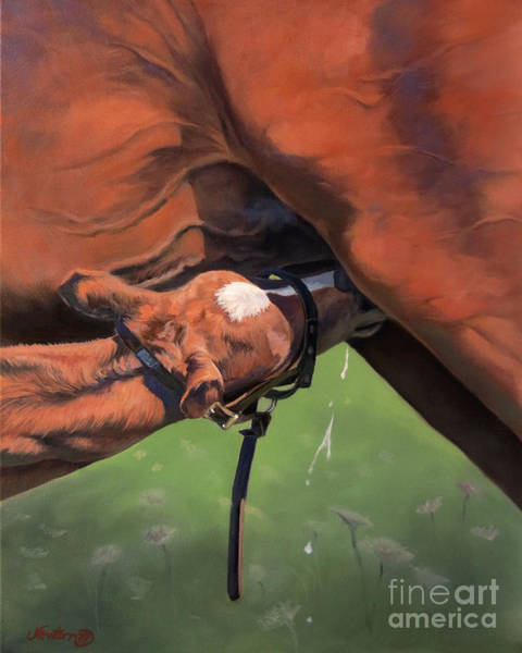 Foal Wall Art - Painting - The Milk Baby by Jeanne Newton Schoborg