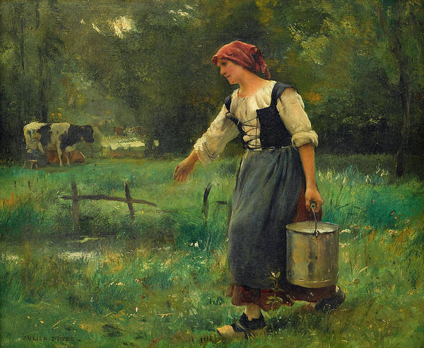 Sickle Painting - The Milk Girl by Julien Dupre