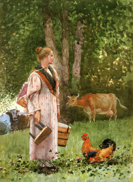 Painting - The Milk Maid By Winslow Homer 1878 by Movie Poster Prints