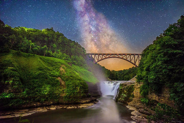 Photograph - The Milky Way Over Upper Falls by Mark Papke