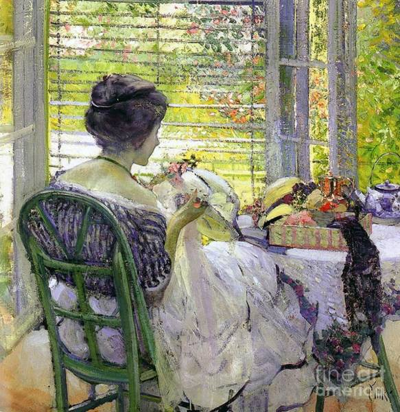 Embroidery Painting - The Milliner by Richard Edward Miller