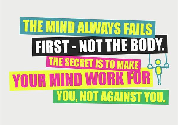 Wall Art - Digital Art - The Mind Always Fails First Gym Inspirational Quotes Poster by Lab No 4