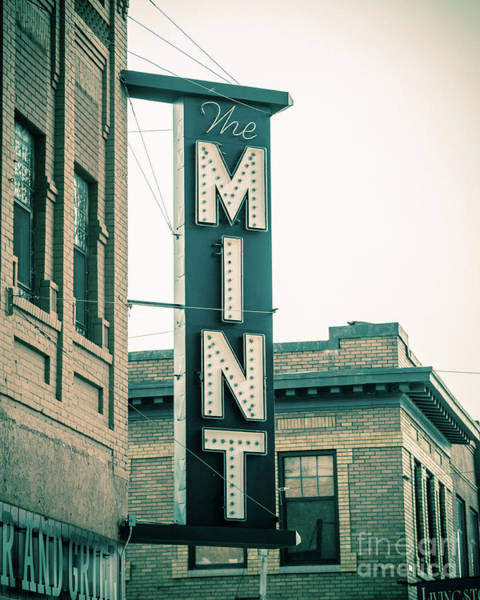 Vintage Neon Sign Photograph - The Mint Classic Neon Sign Livingston Montana by Edward Fielding