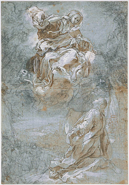 Miracle Drawing - The Miracle Of The Sacred Belt by Federico Barocci