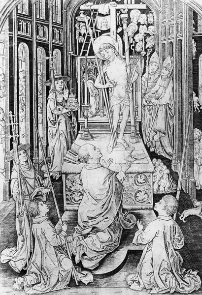 Miracle Drawing - The Miracle Of Transubstantiation by German School