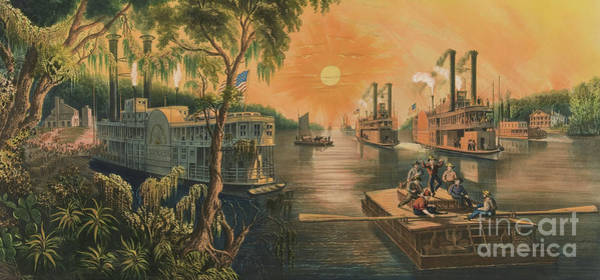 Paddling Painting - The Mississippi In Time Of Peace, 1865 by Currier and Ives