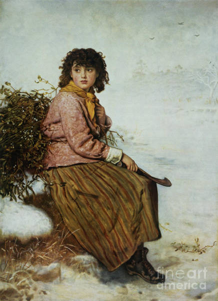 Sad Painting - The Mistletoe Gatherer by Sir John Everett Millais