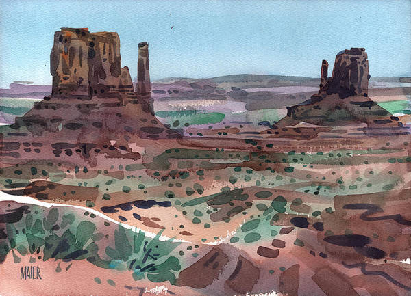 Monument Valley Navajo Tribal Park Wall Art - Painting - The Mittens by Donald Maier