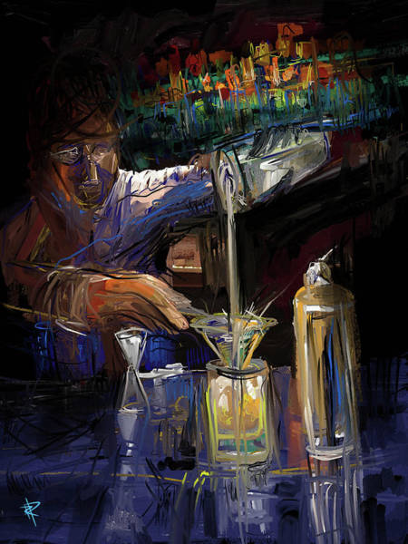 Whiskey Mixed Media - The Mixologist by Russell Pierce
