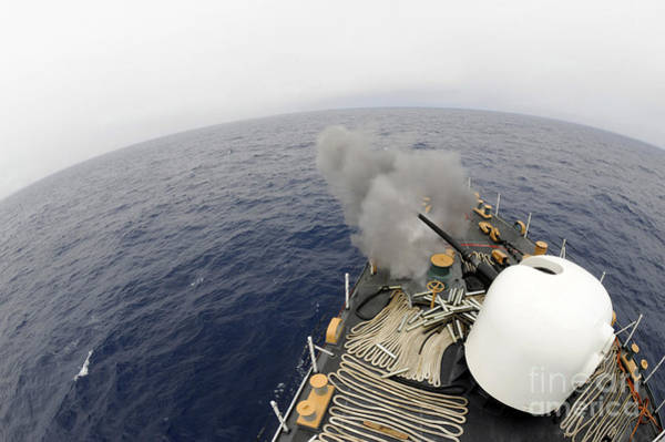 Gunfire Photograph - The Mk-75 76mm Cannon Aboard United by Stocktrek Images