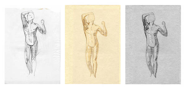 Drawing - The Modern Age - Triptych - Homage Rodin  by David Hargreaves