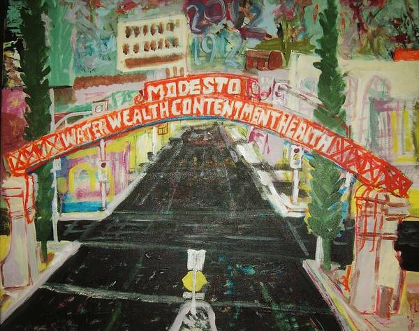 Gateway Arch Painting - the Modesto Arch  by James Christiansen