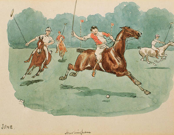 Grass Field Drawing - The Month Of June  Polo by George Derville Rowlandson