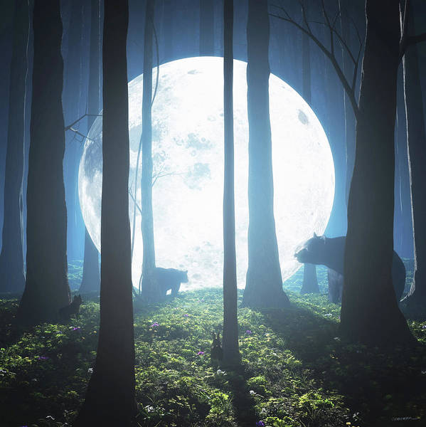 Woodland Digital Art - The Moon Landing by Cynthia Decker