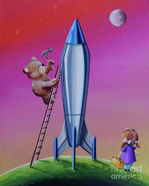 Teddy Bear Painting - The Moon Mission by Cindy Thornton