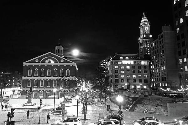 Photograph - The Moon Over Faneuil Hall On A Snowy Night Custom House Black And White by Toby McGuire