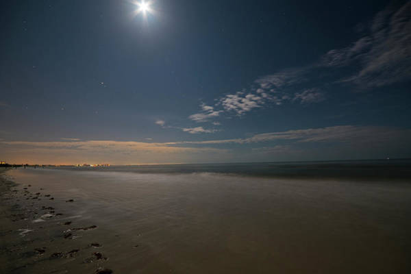 Photograph - The Moon Over Fort Myers Beach Fort Myers Florida Waves by Toby McGuire