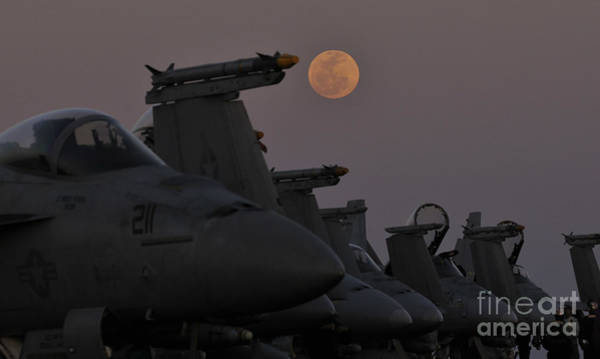 Flight Deck Painting - The Moon Rises Over Aircraft On The Flight Deck Of Uss Carl Vinson. by Celestial Images