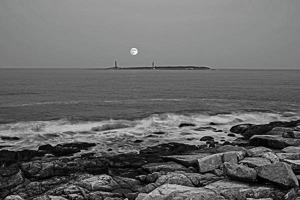 Photograph - The Moon Rising Over Thacher Island Rockport Ma Black And White by Toby McGuire