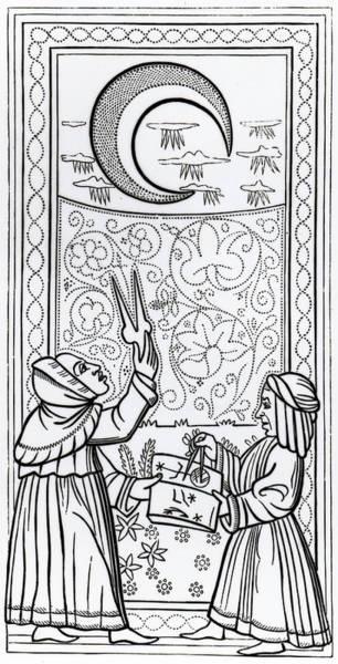 Magical Drawing - The Moon  Tarot Card by Italian School