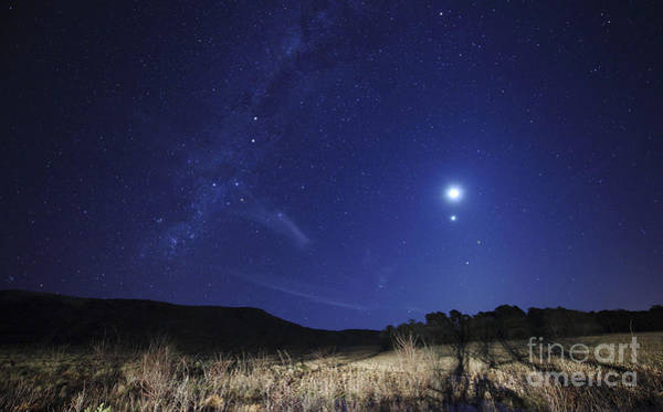 Photograph - The Moon, Venus, Mars And Spica by Luis Argerich
