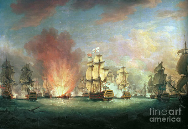 Galleons Wall Art - Painting - The Moonlight Battle by Richard Paton
