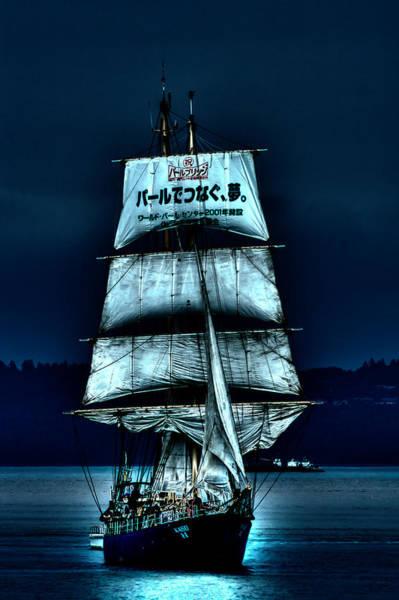 Photograph - The Moonlit Kaisei Brigantine Tall Ship by David Patterson
