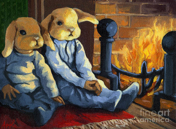 Bunny Rabbit Wall Art - Painting - The Mopsy Twins  by Linda Apple