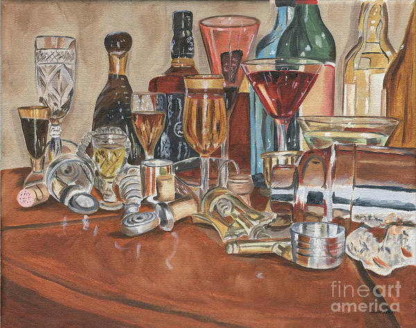 Whiskey Wall Art - Painting - The Morning After by Debbie DeWitt