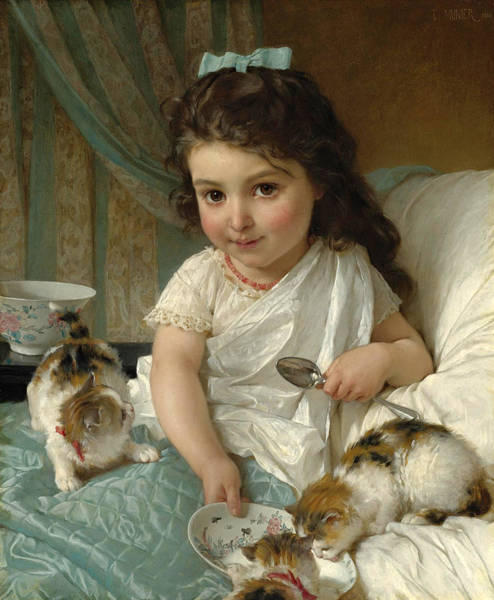 Wall Art - Painting - The Morning Meal by Emile Munier