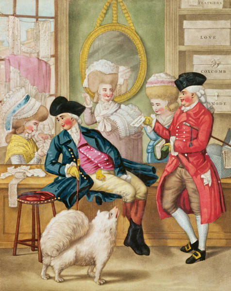 Pomeranian Painting - The Morning Ramble Or The Milliners Shop by Robert Dighton
