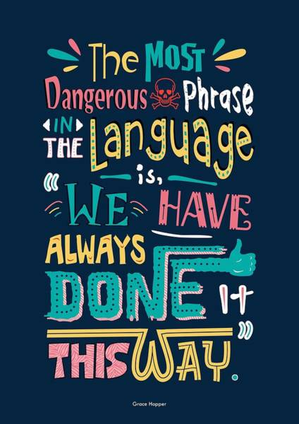 Wall Art - Digital Art - The Most Dangerous Phrase In The Language Is We Have Always Done It This Way Quotes Poster by Lab No 4
