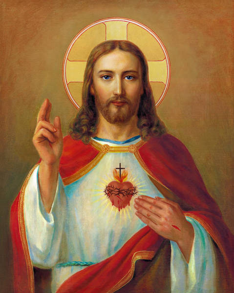 Worship Wall Art - Painting - The Most Sacred Heart Of Jesus by Svitozar Nenyuk