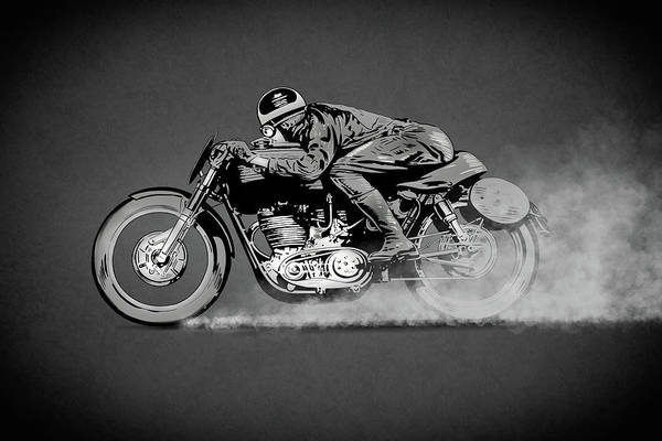 Wall Art - Drawing - The Motorcycle Dust Devil by Mark Rogan