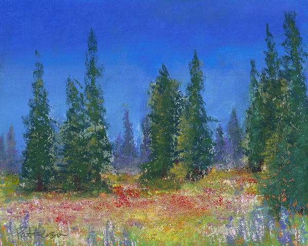 Wall Art - Pastel - The Mountain Meadow by David Patterson