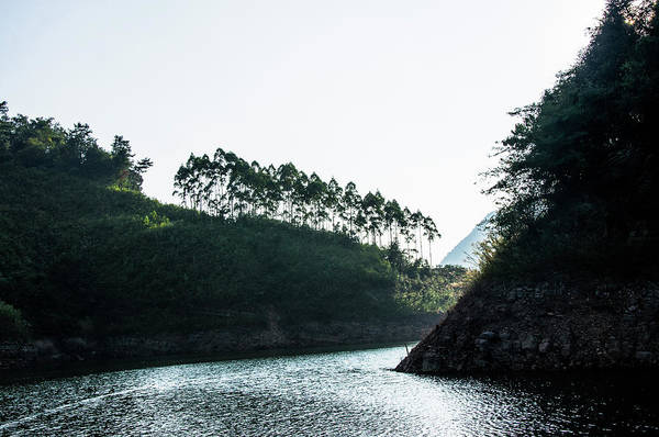 Photograph - The Mountains And Reservoir Scenery by Carl Ning
