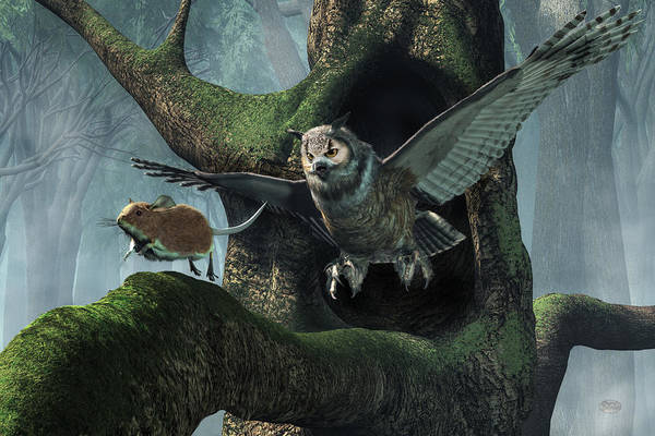 Digital Art - The Mouse And The The Owl by Daniel Eskridge