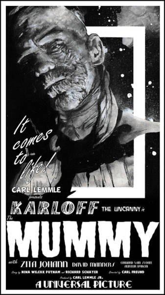 Painting - The Mummy 1932 Movie Poster With Tagline by Sean Parnell