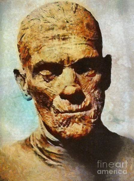 Wall Art - Painting - The Mummy, Vintage Horror by Mary Bassett