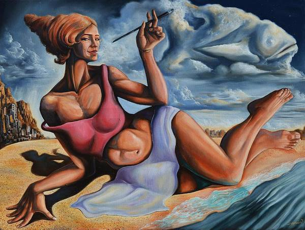Wall Art - Painting - The Muse From The Shore Of Dreams by Darwin Leon