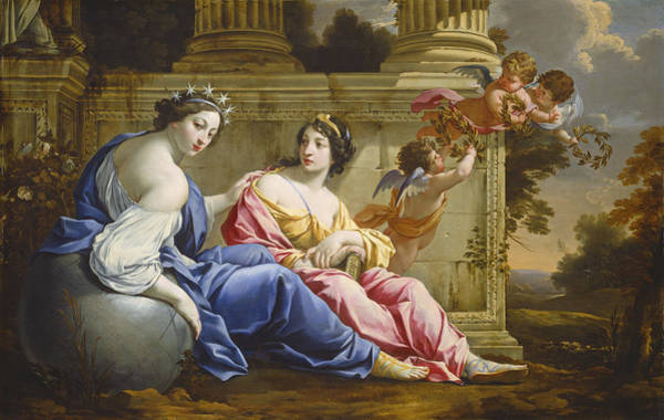 Wall Art - Painting - The Muses Urania And Calliope by Simon Vouet And Studio