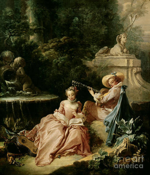 Francois Boucher Painting - The Music Lesson by Francois Boucher