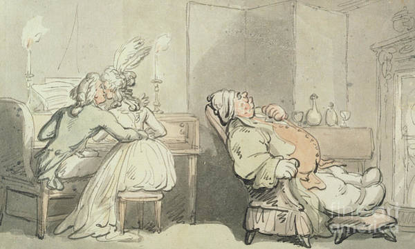 Amuse Drawing - The Music Master by Thomas Rowlandson
