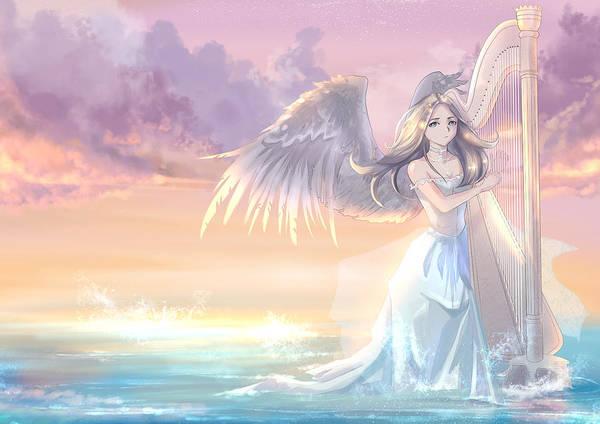 Harp Digital Art - The Music Of Angels by Polina Poleron