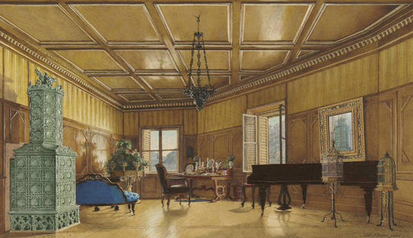 Grand Piano Painting - The Music Room Of Archduchess Margarete  Princess Of Saxony by Heinrich Von Forster