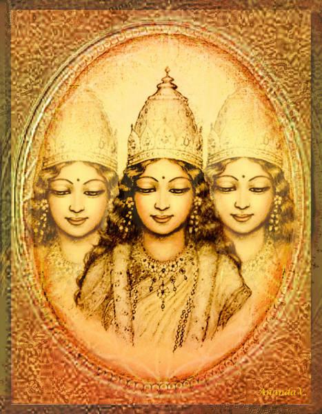 Wall Art - Mixed Media - The Mystery Of The Goddess by Ananda Vdovic