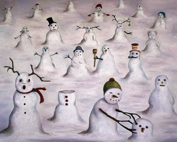 Painting - The Mystery Revealed On Snowman Hill by Leah Saulnier The Painting Maniac