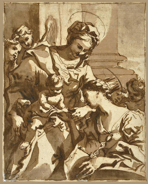 The Mystic Drawing - The Mystic Marriage Of Saint Catherine by Domenico Piola