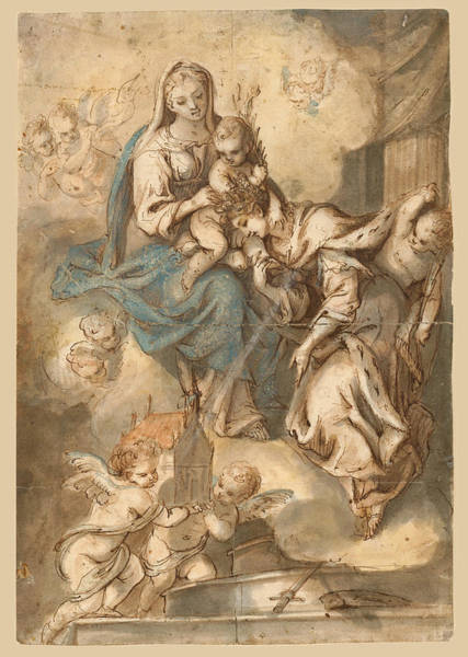 The Mystic Drawing - The Mystic Marriage Of Saint Catherine by Johann Andreas Wolf